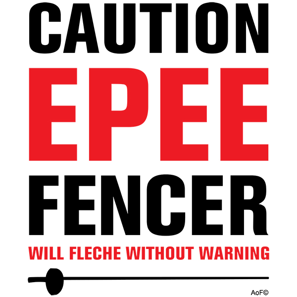caution epee fencer